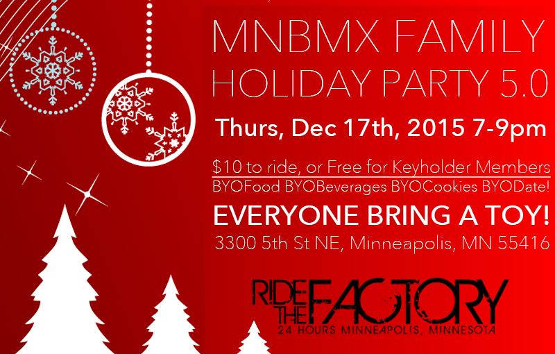 Minnesota BMX Family Holiday Party 5.0 – Toys for Tots – Thursday December 17th 7-9pm