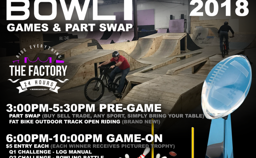 """No game plans Sunday? Join our """"Ride Bowl I"""" Games & Part Swap!"""