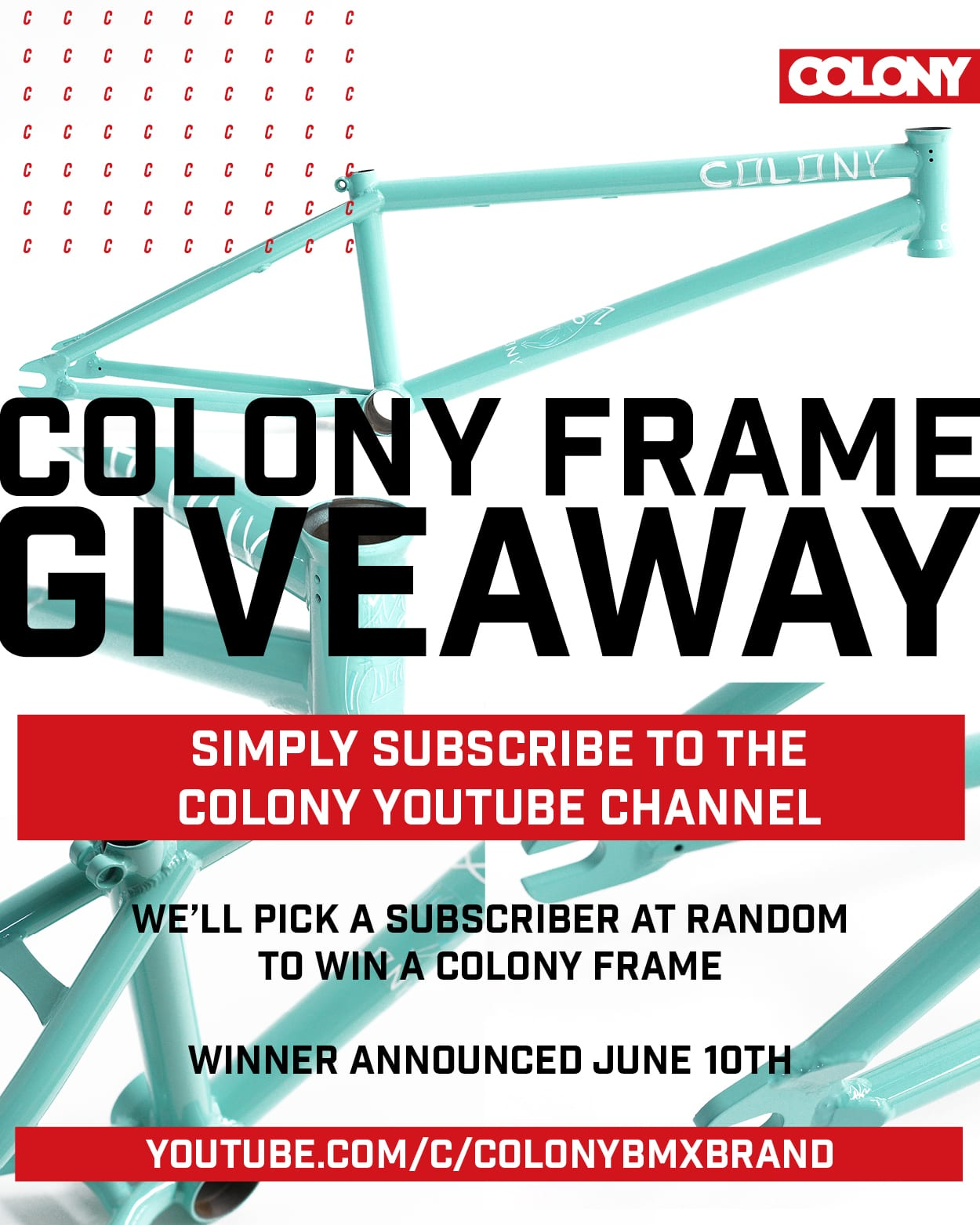 colony bmx frame giveaway